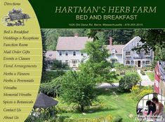 Hartman's Herb Farm, Barre, Massachusetts - Weddings, Dinners, Herbs and Flowers, Wreaths