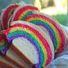 Recipe: Over the Rainbow Bread  1 cup warm water  2 tablespoons vegetable oil  2-1/4 teaspoons active dry yeast (1 packet)  1/3 cup white sugar  3/4 teaspoon salt  3 cups all-purpose flour  food coloring of your choice