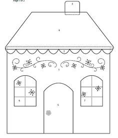 House template for Embroidery Pattern. Applique Templates, Applique Patterns, Applique Quilts, Embroidery Applique, House Quilt Patterns, House Quilt Block, Quilt Blocks, Fabric Houses, Paper Houses