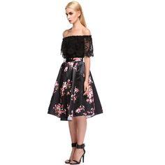 Acevog Women's Black/green/white/red Sakura Skater Vintage Skirt with... via Polyvore