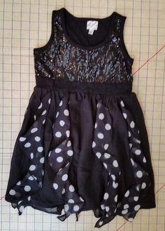 Disney D Signed Dress Girls Size S Black Sequin Polka Dot Ruffle small #Disney #DressyHoliday