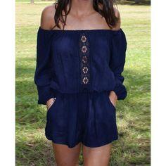 Stylish Slash Collar Long Sleeve Hollow Out Pocket Design Women's Romper