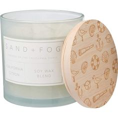 Sand NEW! Fog PEACE Candle With Wood Lid LAVENDER VANILLA 2 WICK NEW 12 Oz