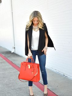 Black Cape Blazer + Distressed Jeans Black Cape, Denim Style, Hermes Birkin, Capes, Denim Fashion, Swagg, Distressed Jeans, Outfit Ideas, Comfy