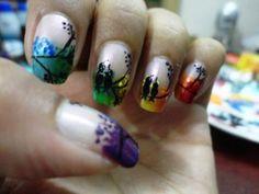 Rainboe Love bird nail insprd by Robin Moses