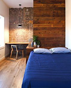 Bedroom Interior Design on Exposed Brick Bedroom Interior With Small Desk Murray Mitchell Brick Interior, Interior Architecture, Interior Design, Modern Interior, Interior Decorating, Exposed Brick Bedroom, Brick And Wood, Brick Walls, Wood Walls