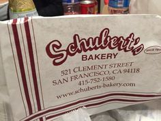 Schubert's Bakery (since 1911) Last German bakery in San Francisco. Some of the favorites from 1911, such as the Neopolitan and the Opera Cake are still being baked by popular demand to this day. The selection has also been updated with more diverse offerings such as Tiramisu, Mango Mousse and Swedish Princess Cake.