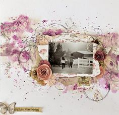 """Scraps of Elegance scrapbook kit club - Tiffany Solorio created this gorgeous purple and white mixed media layout with our April """"Lynne's Garden Terrace"""" kit, and she's done a video tutorial to show you exactly how she did it. Find our kits here: www.scrapsofdarkness.com"""