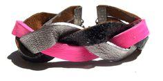 Neon Braided Hot Pink Silver and Black Glitter Bracelet by Beatniq, $19.50