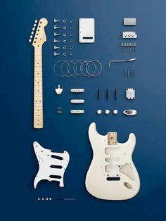 Fender Stratocaster (deconstructed) by Carl Kleiner Fender Stratocaster, Fender Guitars, Gretsch, Heavy Metal, Easy Guitar, Cool Guitar, Guitar Diy, Pub Radio, Electric Guitars