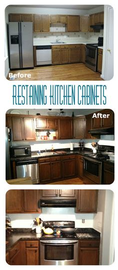 Little Brick Home: Re-staining Kitchen Cabinets - Instructions