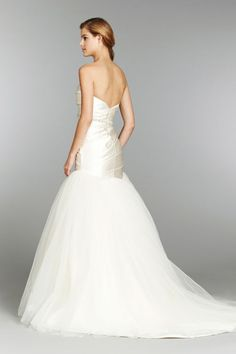 Style HP6354 > Bridal Gowns, Wedding Dresses > by Hayley Paige > Shown Ivory Fit to Flare gown with Stretch Silk Satin ruched elongated bodice. Crystal & Alabaster Belt at waist & full Pleated skirt with Chapel Train (back)
