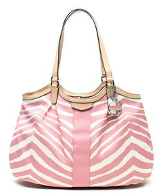 Look what I found on #zulily! Pink Tulle Signature Zebra Devin Tote by Coach #zulilyfinds