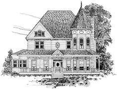 Three Bedroom Queen Anne (HWBDO64584) | Queen Anne House Plan from BuilderHousePlans.com