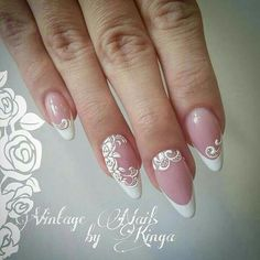 50 Top Best Wedding Nail Art Designs To Get Inspired Cute Nails, Pretty Nails, My Nails, French Nail Designs, Diy Nail Designs, Bride Nails, Wedding Nails, Wedding Bride, French Tip Nails