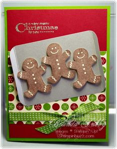 Such a clever card of gingerbread cookies on a baking sheet using StampinUp Scentsational Season on Belinda's blog.