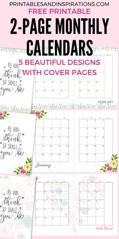 Free printable monthly planner - 2020 Monthly Calendar Two Page Spread Free Printable – Free printable monthly planner Free Printable Calendar, Free Printables, Monthly Planner Printable, Planner Stickers, Binder Inserts, Planner Inserts, Glam Planner, Planner Diy, Planner Ideas