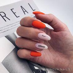 Самый модный комбинированный маникюр новые тренды и стильные сочетания в дизайне ногтей - Uñas Coffing - Maquillaje - Peinados - Moda - Zapatos - Moda masculina - Maquillaje de ojos - Trenzas - Vestidos - Trajes casuales - Moda Emo - Uñas acríli Bright Red Nails, Orange Nails, Acrylic Nail Shapes, Acrylic Nails, Stylish Nails, Trendy Nails, Hair And Nails, My Nails, Sharp Nails