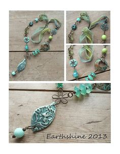 Tourquoise and green lampwork and ceramic necklace by Earthshine Lampwork Bead and Jewellery Design, via Flickr