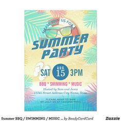 Summer BBQ / SWIMMING / MUSIC Party Invitation Summer Wedding / BBQ / SWIMMING / MUSIC Party Invitation A Perfect Design for your Summer Party! All text style, colors, sizes can be modified to fit your needs!