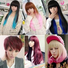 New Fashion Long Curly/Straight Full Wigs Women Colorful Cosplay Hair Party Wig