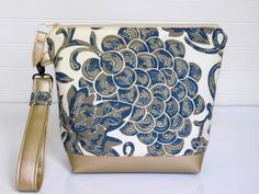 Navy Wristlet Clutch Bag Metallic Gold by BerkshireCollections
