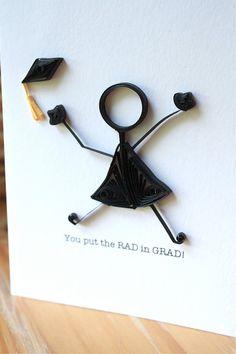 Quilled Graduation Card - Stick Figure - Unique Greeting Card