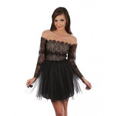 Rochie tutu neagra - Tutu Black Dress Asocierea dintre pretiozitatea dantelei si rafinamentul tull-ului da nastere unui efect romantic, misterios si feminin.