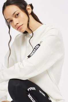 Oversized sweat with an embroidered Ivy Park logo on the centre front. By Ivy Park.