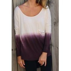 Stylish Scoop Neck Long Sleeve Backless Ombre Women's T-Shirt