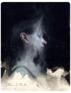 "Henrik Uldalen - ""Disperse"" oil on Moleskine 8.25"" x 11"" (custom framed)"