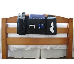Headside Bedside Storage Caddy for Dorms, perfect if you have the upper bunk an no nightstand storage - works on headboards or bed rails, 5 pockets, attaches with extra thick Velcro straps, 22W x 10D x 10H