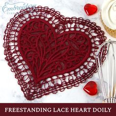 Fill your home with the trappings of love and the stitches of this charming machine embroidery lace heart! Love Crochet, Crochet Ideas, Crochet Patterns, Lace Heart, Lace Embroidery, Potholders, Mug Rugs, Crochet Doilies, Creative Crafts