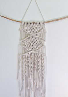 """This macrame wall decor is made of linen.  20""""x26""""  A mini wall hanging for your home! Handmade in New Hampshre."""
