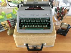 Your place to buy and sell all things handmade Working Typewriter, Typewriter For Sale, Portable Typewriter, Vintage Typewriters, Gold Fabric, Gray Green, Best Gifts, Things To Come, Etsy Shop