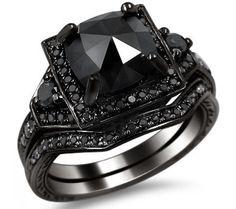2.01ct Black Cushion Cut Diamond Engagement Ring Bridal Set 14k Black Gold