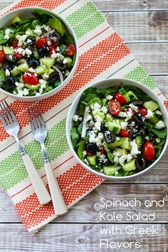 Kalyn's Kitchen®: Spinach and Kale Salad with Greek Flavors and Feta-Lemon Vinaigrette (Low-Carb, Gluten-Free)