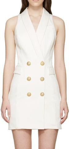 Double-Breasted Vest Dress, White