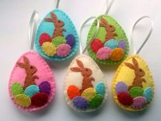Felt easter decoration - felt egg with bunny Listing is for 1 ornament - color selection from drop-down list. Handmade from wool felt Size of my decorated eggs is about 2 1/8 x 2 5/8 inch (5,3 x 6,5 cm) This is size of felt egg without hanging loop This is made to order item For more