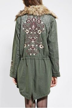 Ecote Embroidered Faux Fur-Collar Parka