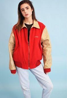 90's SISLEY oversized leather detailed old school jacket
