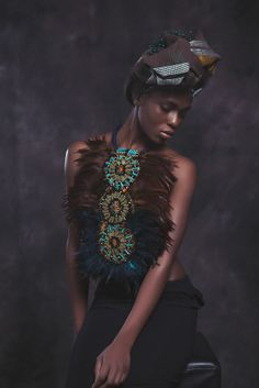 Anita Quansah jewelry #feathers #headwrap #accessories