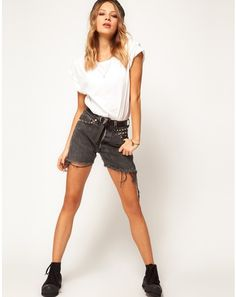 Reclaimed Vintage Levis Shorts in Washed Black with Stud Detail by Reclaimed Vintage