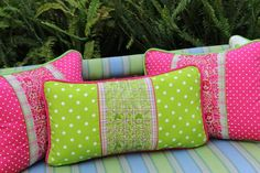 """Oversized Polka dots and Plaid hand embroidered Otomi Sham Scarlett """"O"""" collection Mexico, Tenango, wedding, textile, mexican suzani, embroidery, hand embroidered, otomi, fiber art, mexican, handmade,  casa, decor, interior, frida, kahlo, folk,  folk art, house, home, puebla, las flores, cushion, serape, preppy, gingham, polka dots, pink, lime, green, lily pulitizer, pouf, elle decor, boho, style, bestey johnson, lily pultizer, interior, stripes, southern living, southern style,"""