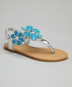 Look at this #zulilyfind! Silver & Turquoise Bead Flower Sandal by Chatties #zulilyfinds