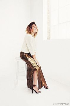 Lauren Conrad in a sequined skirt and sweater