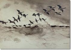 Frank Weston Benson,  Canadian Geese In Flight