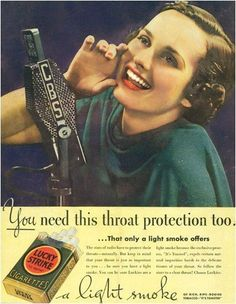 Edward Burnays advertising campaign for lucky strike cigarettes Vintage Advertisements, Vintage Ads, Anti Tabaco, Vintage Cigarette Ads, Mad Ads, Don Draper, Advertising Campaign, Smoke, Nuclear Family