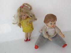 Lot of 2 Vintage Miniature Dollhouse Rubber Vinyl Dolls Boy Girl   eBay