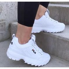 Items similar to Swarovski Fila Disrupter Premium Shoes Blinged Out With Swarovski Crystals Bling Shoes White on Etsy Sneakers Fashion, Fashion Shoes, Shoes Sneakers, Fila Outfit, Fila Disruptors, Hype Shoes, Bling Shoes, Fresh Shoes, Trendy Shoes
